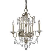 Gianna Dual-Mount 4 Light Chandelier in a Gilded Silver Finish and Crystal Decoration - FEISS FE/GIANNA4